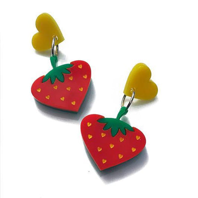 Little Pig Jewellery Design Acrylic Strawberry Earrings Little Pig Design Strawberry Earrings Little Pig Design Jewellery