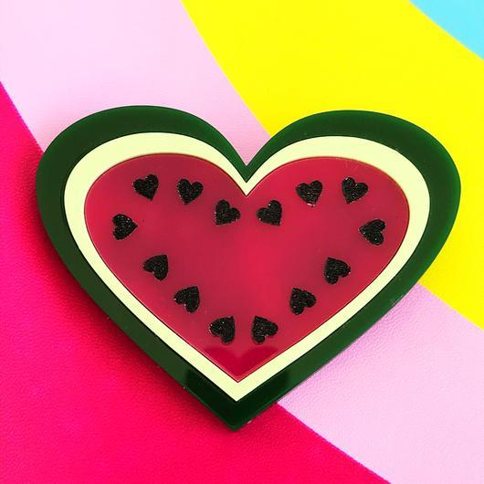 Little Pig Jewellery Design Acrylic Watermelon Brooch Little Pig Design Watermelon Brooch Little Pig Design Jewellery