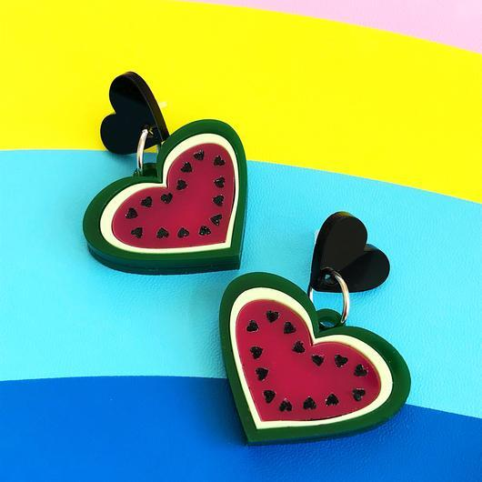 Little Pig Jewellery Design Acrylic Watermelon Earrings Little Pig Design Watermelon Earrings Little Pig Design Jewellery