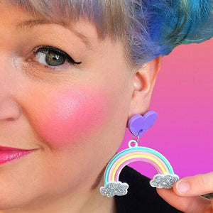 Little Pig Jewellery Design Pastel Rainbow Glitter Earrings Pastel Rainbow Glitter Earrings Little Pig Design Jewellery