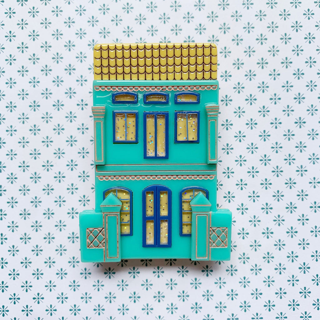 Peranakan Shophouse Brooch in Green Peranakan Shophouse Brooch Shelovesblooms