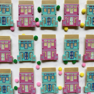 Peranakan Shophouse Brooch in Pink Peranakan Shophouse Brooch Shelovesblooms