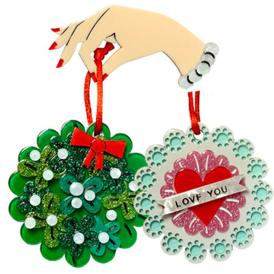 "Christmas & Valentine Reversible Brooch ""Once Smitten, Twice Shy"" by Lipstick & Chrome"