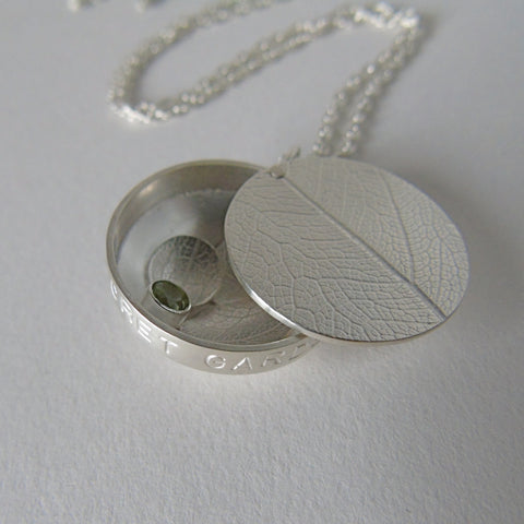 silver secret garden locket necklace
