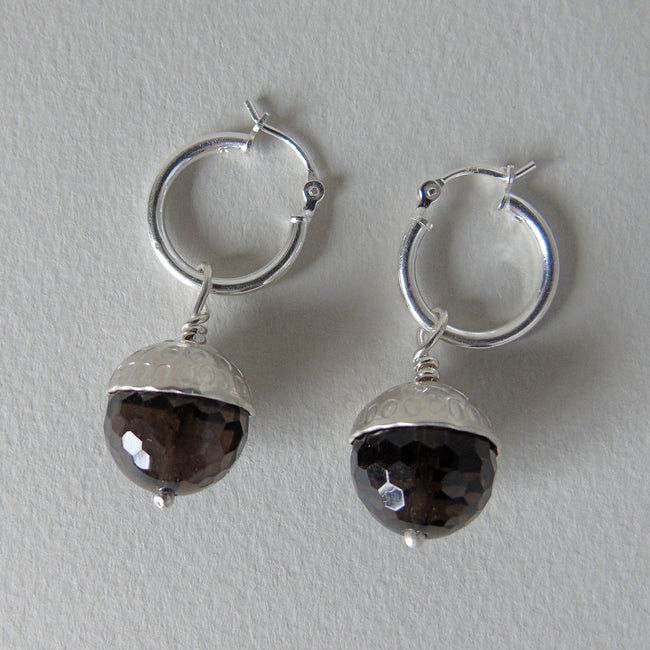 silver and smoky quartz acorn earrings