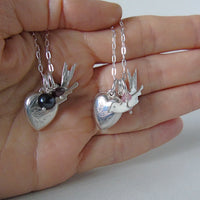 silver heart bird pearl and garnet necklace