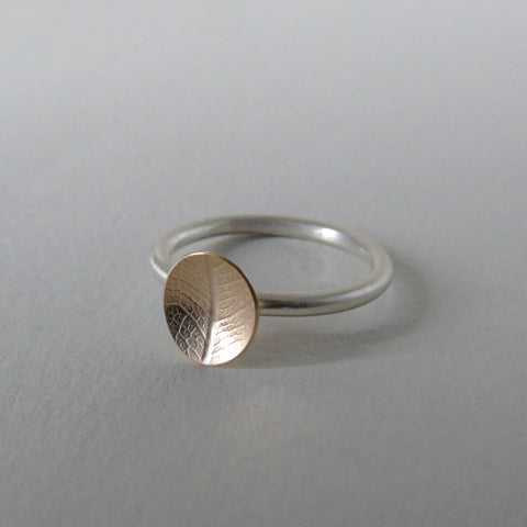 9ct yellow gold little leaf silver stacking ring