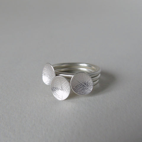 silver little leaf stacking ring