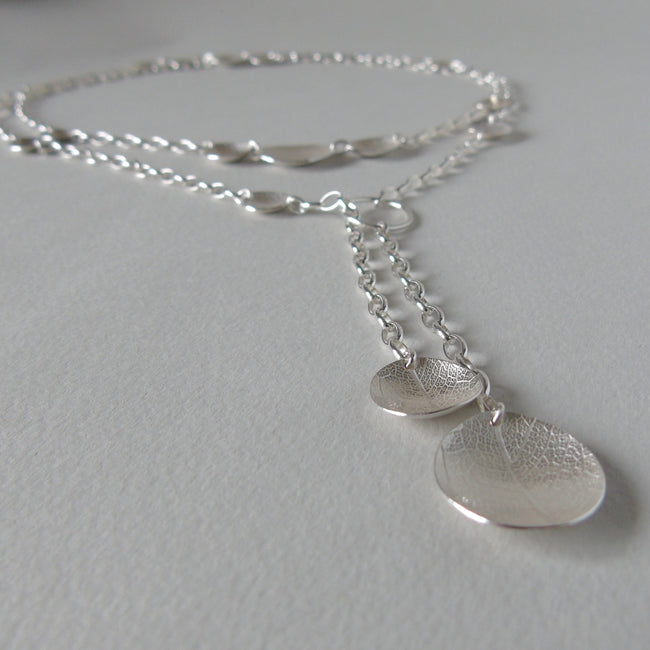 silver oval leaf dish wrap around necklace