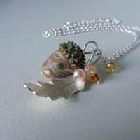 large silver oak leaf and orange swirl glass acorn necklace