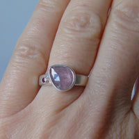 silver ring with freeform pink sapphire and ruby