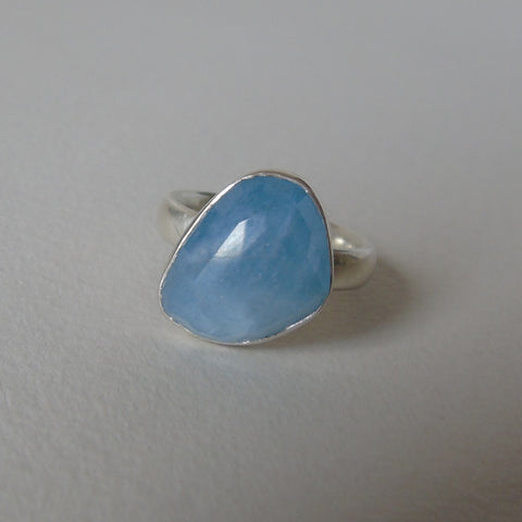 silver ring with freeform aquamarine