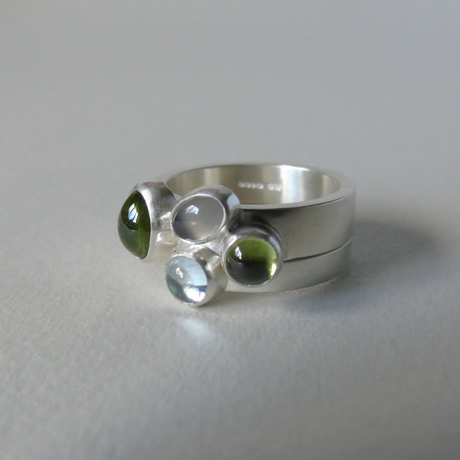 Rockpool pair of silver rings