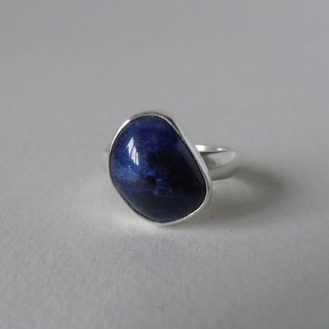 silver ring with freeform sodalite