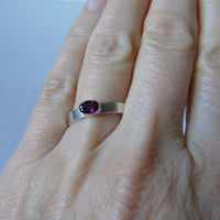silver ring with rhodolite garnet