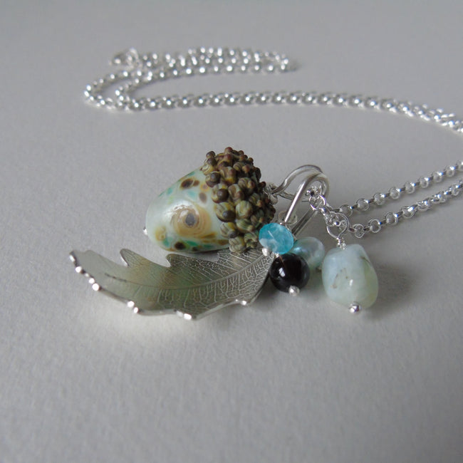large silver oak leaf and pale aqua glass acorn necklace