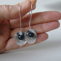 silver large leaf and iolite cluster earrings