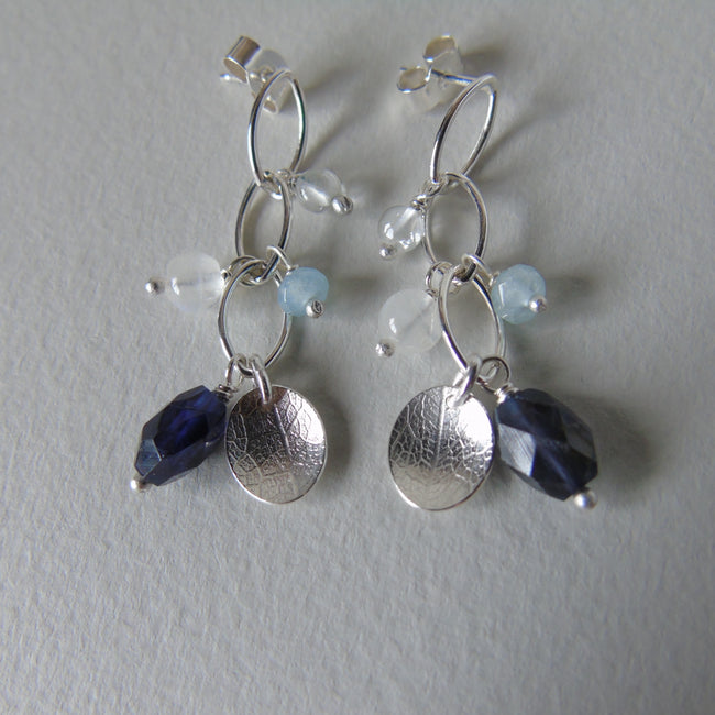silver leaf and iolite earrings