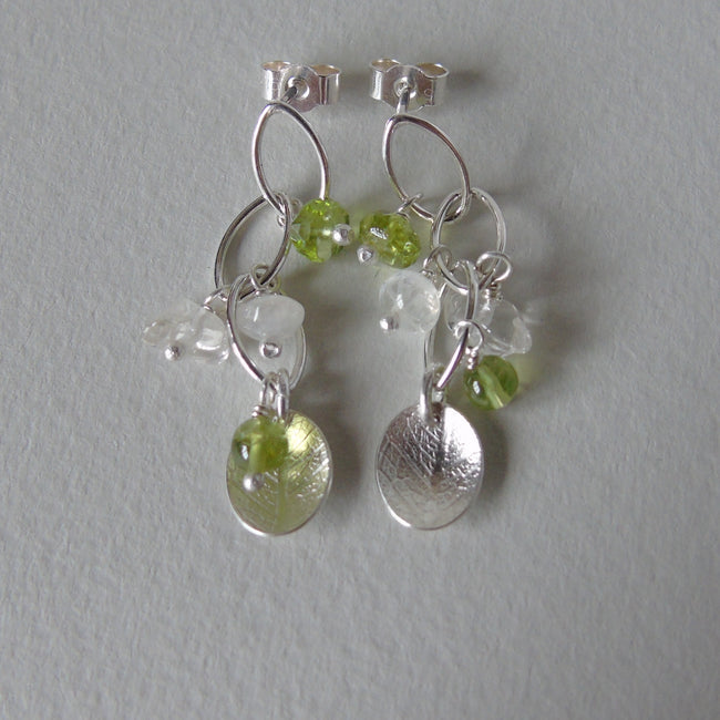 silver leaf and peridot earrings