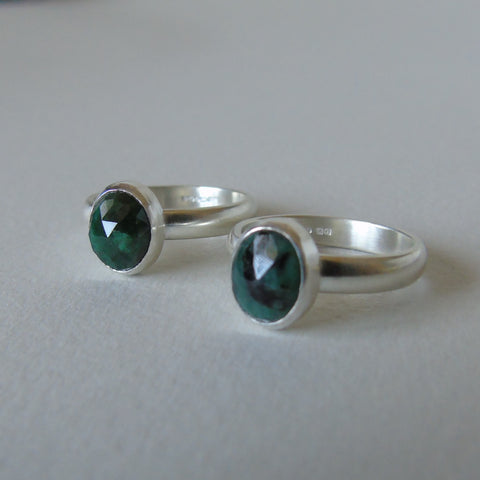 silver ring with rose cut rough emerald