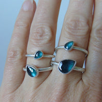 silver ring with blue tourmaline