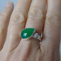 silver green onyx and rainbow moonstone ring