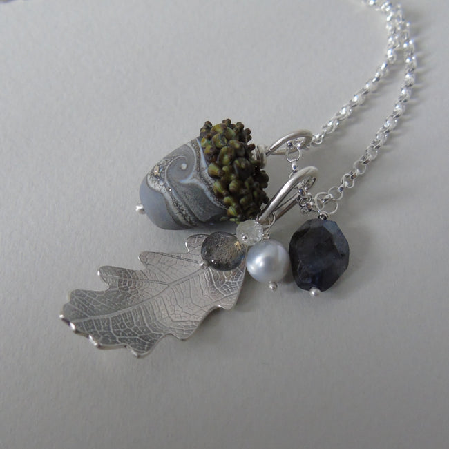 large silver oak leaf and grey glass acorn necklace
