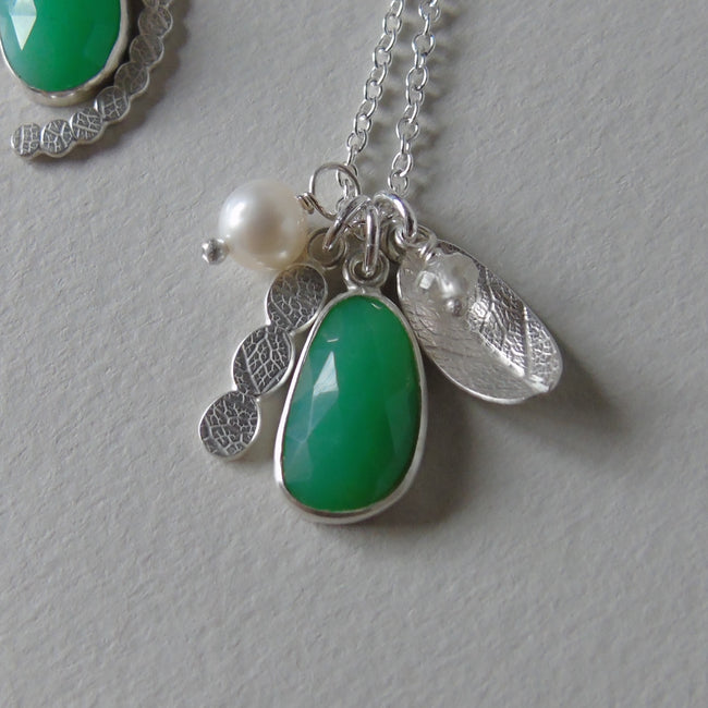 silver leaf and chrysoprase necklace