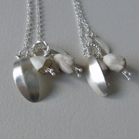 silver leaf and porcelain flowers necklace