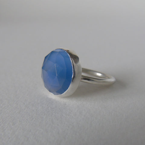 silver ring with blue chalcedony