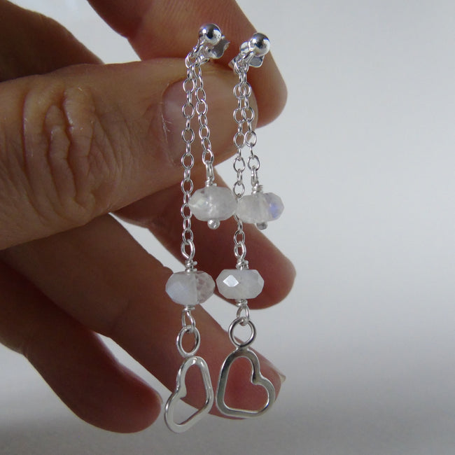 silver stud earrings with heart and beads