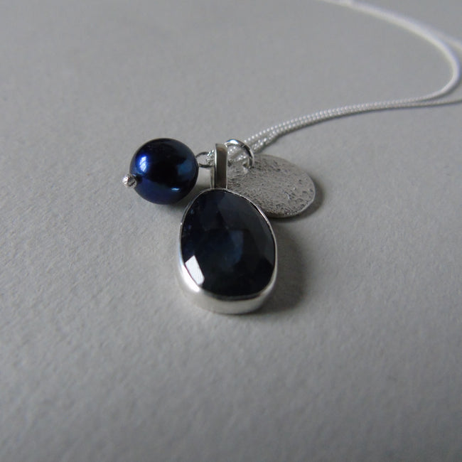 silver moonlit night sapphire necklace