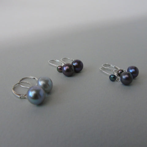 silver lever back earrings with peacock or grey pearl drop