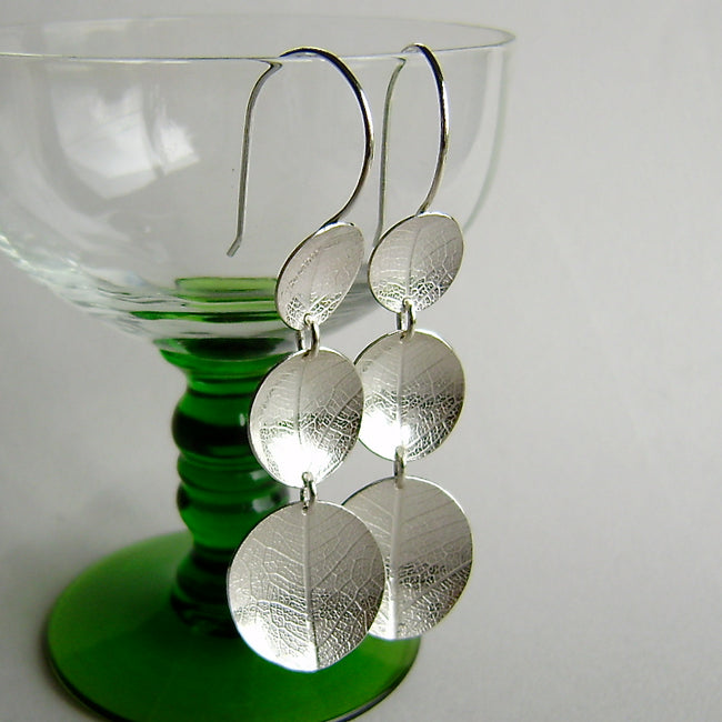 silver three large leaf dish earrings