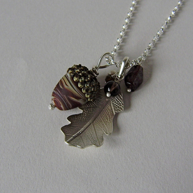 large silver oak leaf and chocolate glass acorn necklace