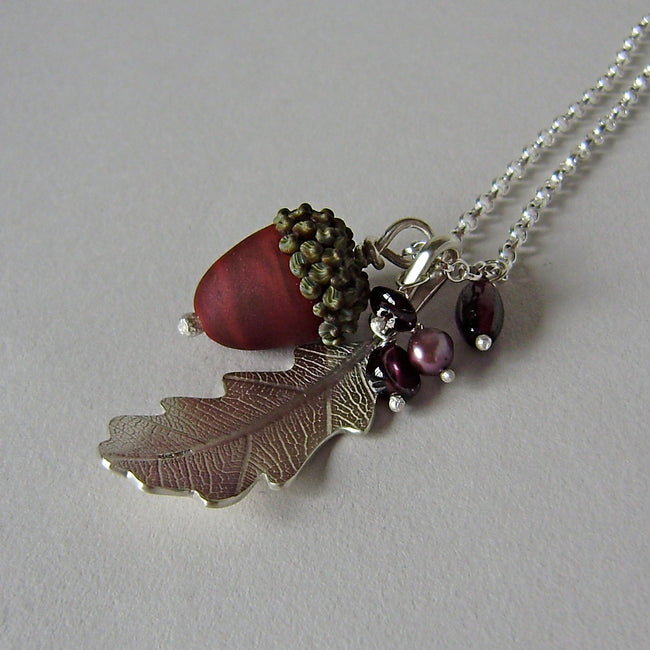 large silver oak leaf and russet glass acorn necklace