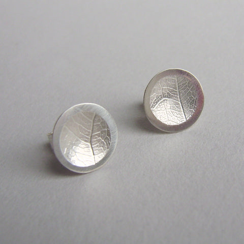 silver concave leaf studs