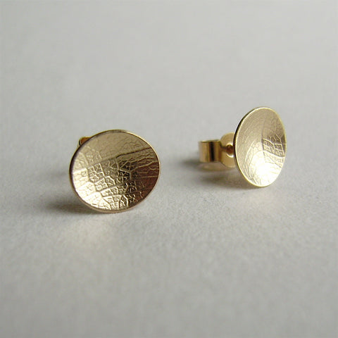 9ct yellow gold mini leaf dish studs