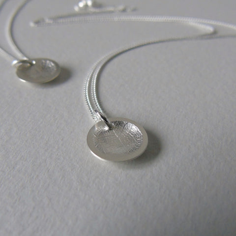 silver mini concave leaf necklace