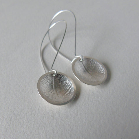 silver domed leaf earrings