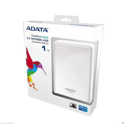 ADATA HDD AHV620 Slim ultra-Portable External Hard Drive USB 3.1  1TB 2,5'' WHITE