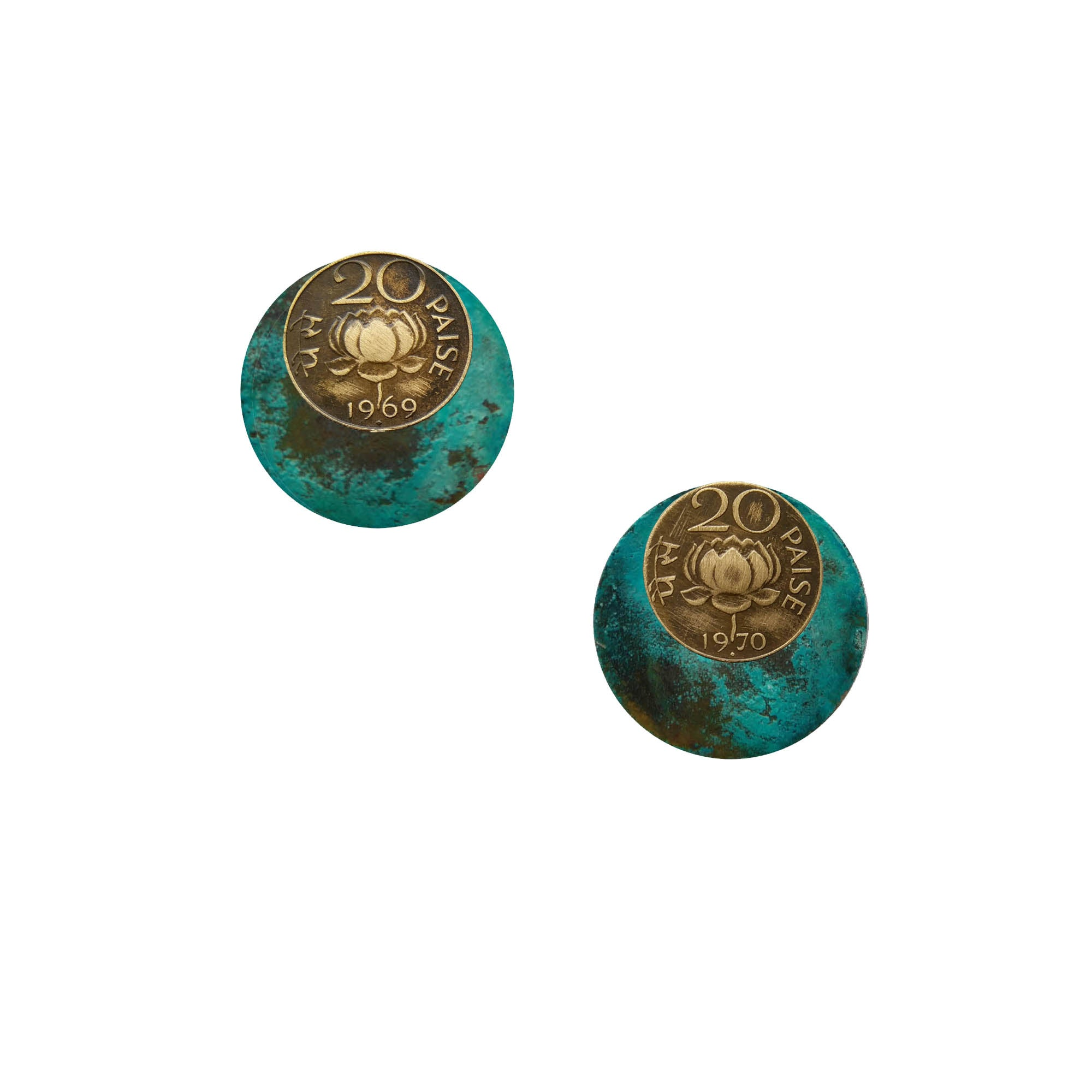 20 paise patina circle earrjackets
