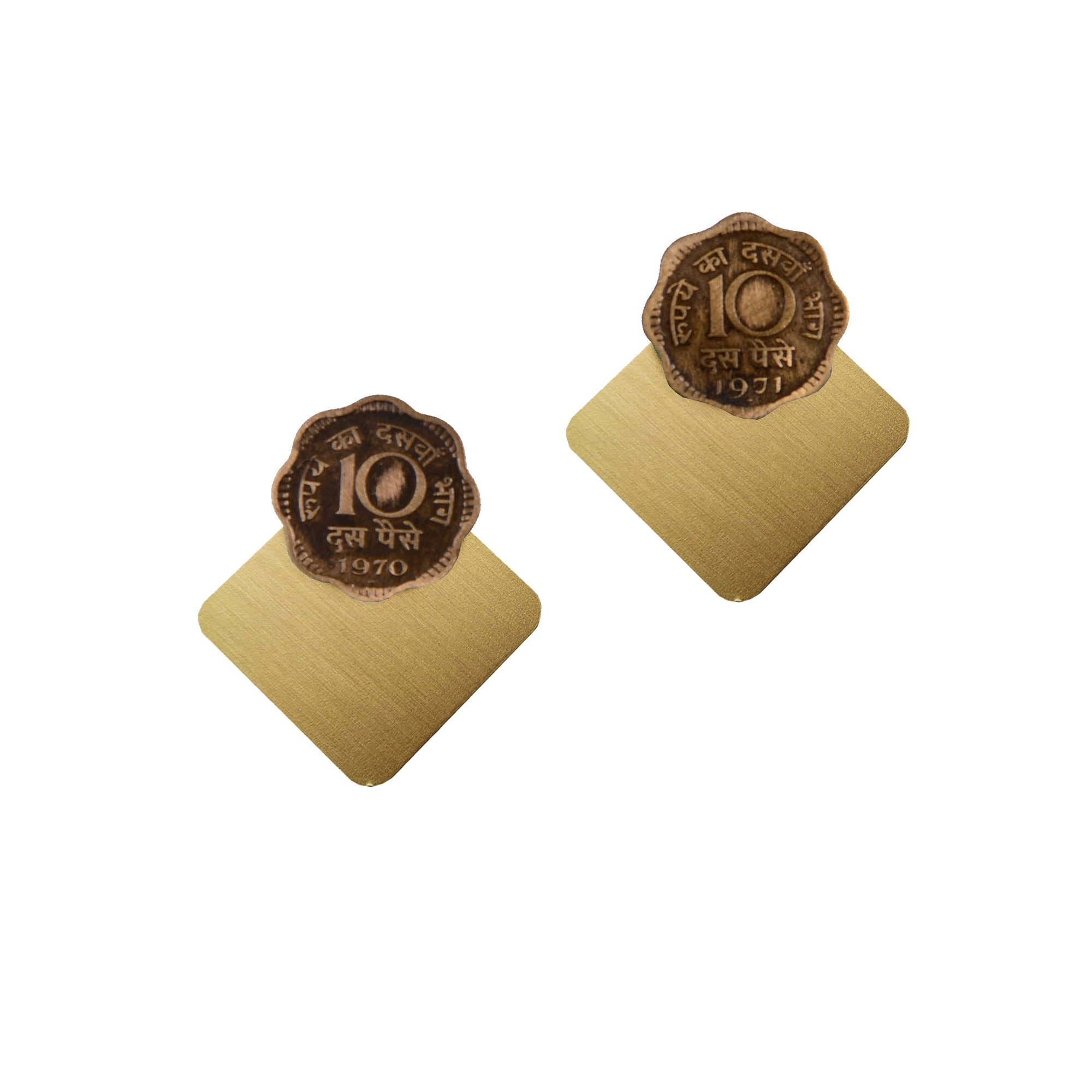 10 paise brass-square earjackets