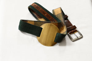 bottle green high waist belt