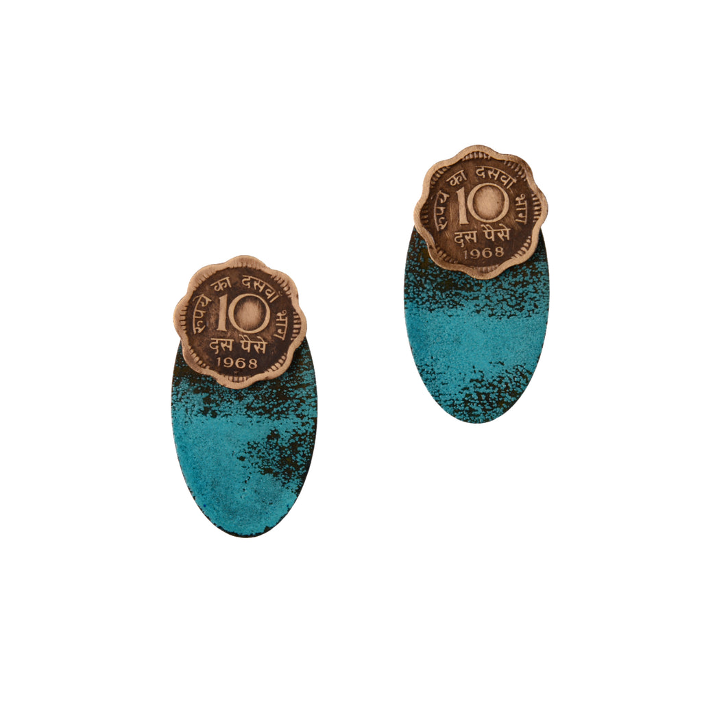 10 paise patina-oval earjackets