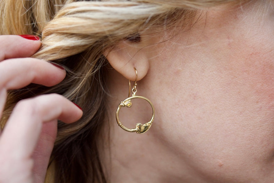 Leaf Motif Hoop Earrings