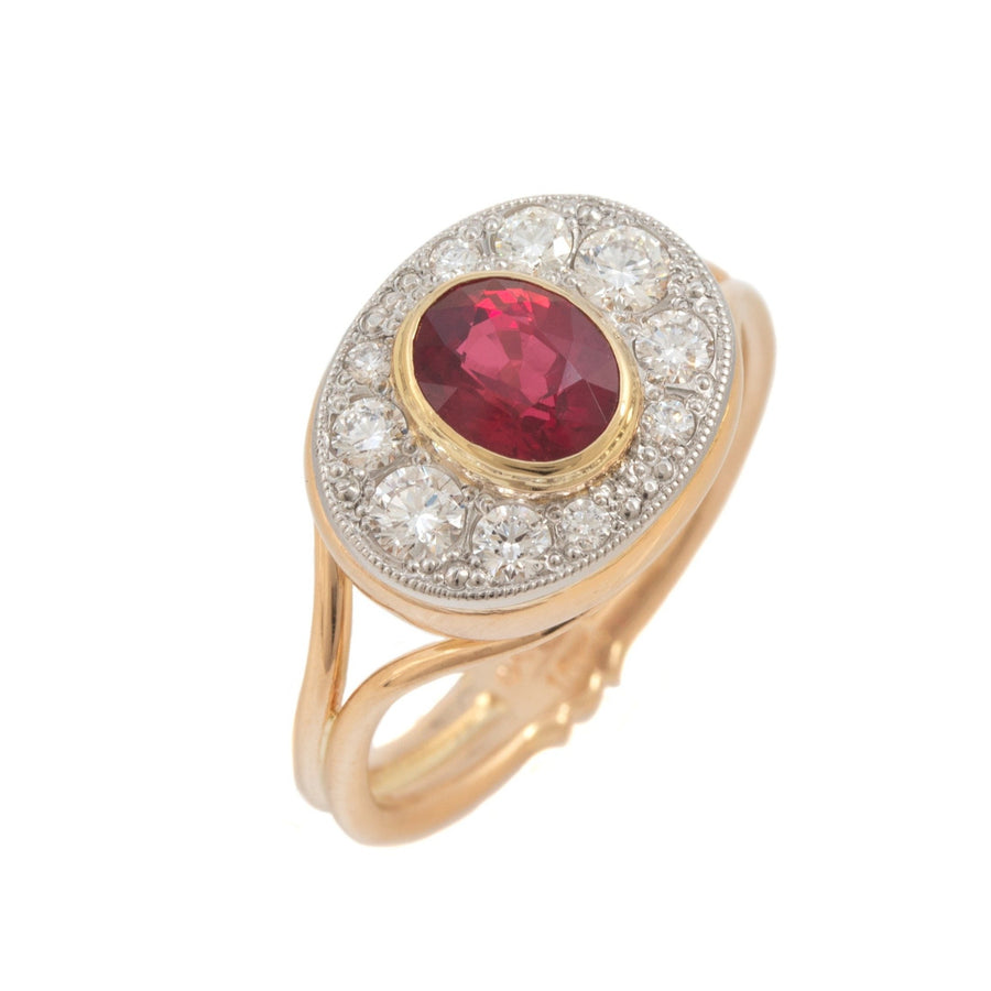 Ruby Ring with Diamond Surround