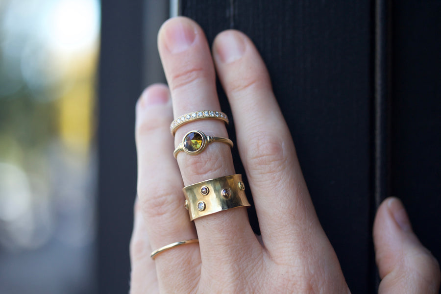 Au Armor Ring with Rose Cut Diamonds