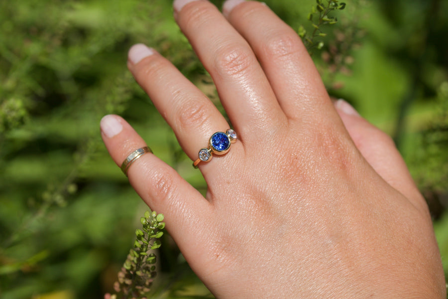 Blue Sapphire & European Cut Diamond Ring