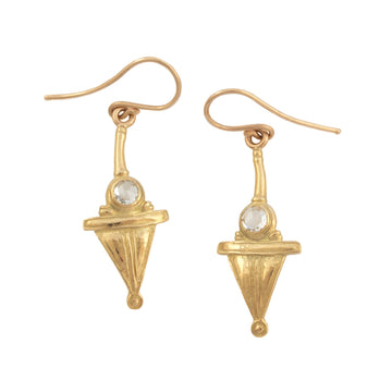 """Sulmona Bell Tower"" Dangle Earrings with Rose Cut Diamonds"